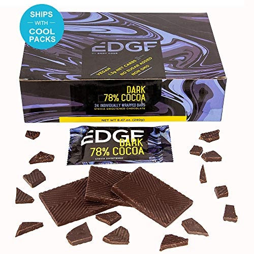 Low Fat Chocolate Candy - Edge Keto Friendly 78% Dark Chocolate Bars, Snack Size Mini Bars - (24) Individually Wrapped 10g Bars | Sugar Free, Stevia Sweetened, Low Carb, Vegan, All Natural and no GMO Ingredients!