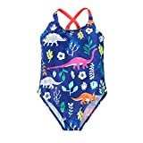 Hongshilian Little Girls Cartoon Beach Sport Swimwear One Piece Baby Swimsuit(Dinosaur & Blue,L)