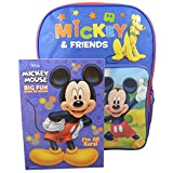 """Disney Mickey Mouse and Friends Boys' 16"""" Backpack w/ Bonus Coloring Book New"""
