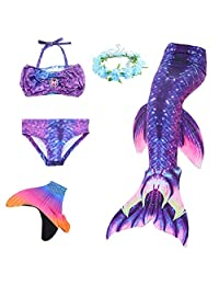 AUIE SAOSA Girls Mermaid Tail Swimsuit Sets Sea-Maid Swimwear Bathing Suit