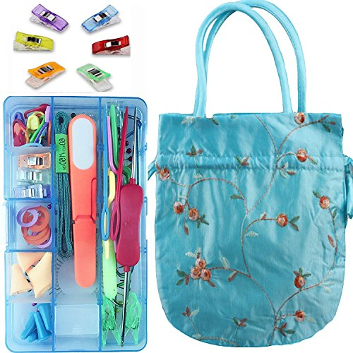 Knitting Notions and Supplies with Storage Case Knitting Stitch Holders Counter and Knitting bag