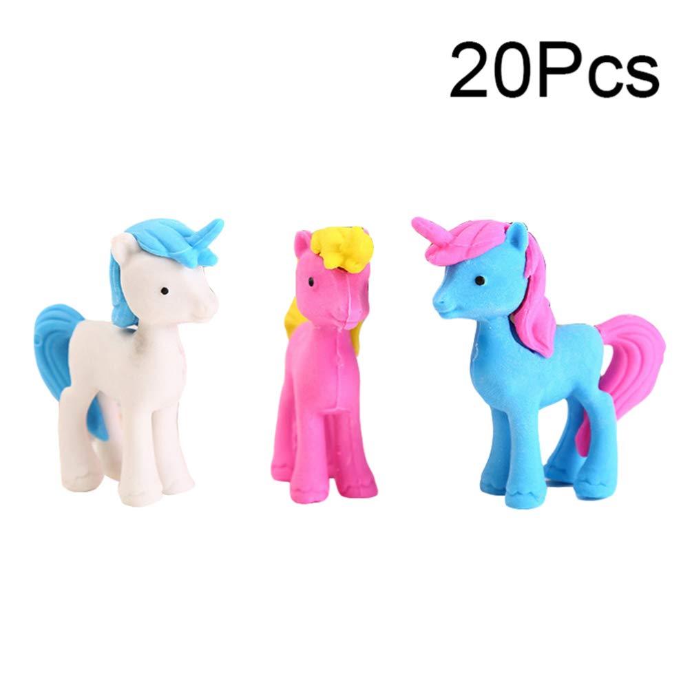 TOYANDONA 20pcs Unicorn Eraser Creative Cute School Rewards Eraser Stationery Gift for Students Children