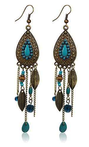 Eternity J. Women Vintage Retro Ethnic Drop Bohemian Dangle Earring Lolita Antique Bead Tassel Earrings (Blue)