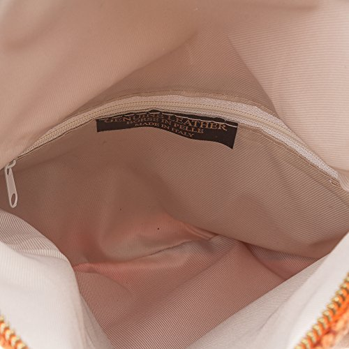 FIRENZE ARTEGIANI.Bolso de mujer piel auténtica.Bolso de mano mujer fibra natural cáñamo.Correa de cadena para hombro. MADE IN ITALY. VERA PELLE ITALIANA. 24x18x3 cm. Color: NARANJA