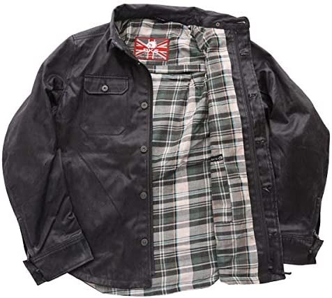 3XL BKS Wax Cotton Kevlar Aramid Protective Motorcycle Shirt Mens Black J/&S