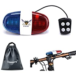 Oumers Bike LED light, Police Sound Light Electric Horn Siren Bicycle Horn Bell, 5 LED Light 4 Sounds Trumpet, Warning Safety Light, Waterproof Bicycle Lights Accessories, No Batteries in