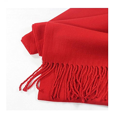 Red_(US Seller)Scarf Unisex New Fashion (Solid) Scotland Made Warm (Ruffle Trimmed Suspender)