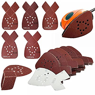50PCS 40+80+120+180+240Grit Mouse Sanding Sheets Pads For Black & Decker Sander