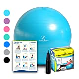Exercise Ball - Professional Grade Anti-Burst Fitness, Balance Ball for Pilates, Yoga, Birthing, Stability Gym Workout Training and Physical Therapy (Teal, 75 cm)