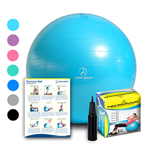 (Exercise Ball - Professional Grade Anti-Burst Fitness, Balance Ball for Pilates, Yoga, Birthing, Stability Gym Workout Training and Physical Therapy (Teal, 45)