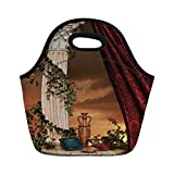Neoprene Lunch Bag,Gothic,Greek Style Scene Climber Pillow Fruits Vine and Red Curtain Ancient Figure Sunset Decorative,Multicolor,for Kids Adult Thermal Insulated Tote Bags