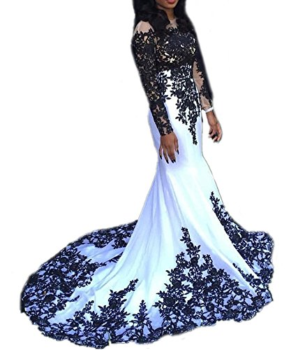 DreHouse Women's White+Black Lace Mermaid Long Sleeve Prom Dresses 2017 Sexy