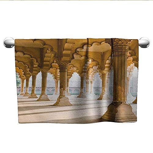 Pillar,Small Bath Towels Historical Theme Gallery of Pillars at Agra Fort Ethnic Digital Image Absorbent Towel Pale Coffee and Beige W 14