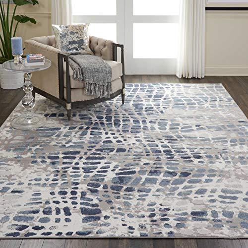 (Nourison URD04 Urban Decor Slate Blue and White Rustic Area Rug 7'10
