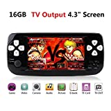 """Handheld Game Console,Retro Game Console 4.3"""" TFT Screen 16GB Pap Classic Handheld Game Console with 3000 Games 64 Bit Portable Game Console,Birthday Gift for Children (T-Black)"""