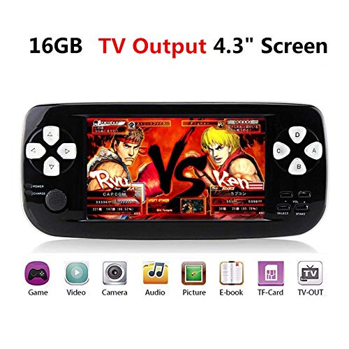 "ANBERNIC Handheld Game Console , 4.3"" 16GB 3000 Classic Portable Game Console Pap-KIII , Support GBA / GBC / GB / Sega / NES / SFC / NEOGEO , Birthday Presents for Children (Black)"