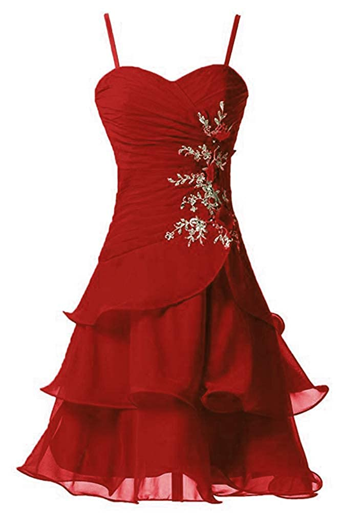 Deep Red Victoria Prom Women's Strap A Line Short Bridesmaid Dress Prom Party Gowns Sweet Homecoming Dress