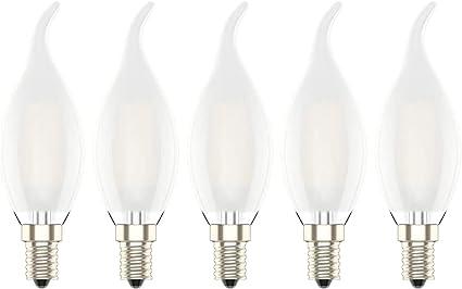 Lampadina in vetro 4 LED a filamento 2W 220V luce ultra calda E14 2200K