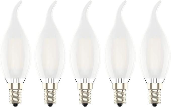 LAMPADINA a CANDELA FILAMENTO LED BIANCA 4W LUCE CALDA 2700K E14 lampada VETRO