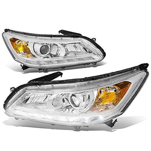 (DNA Motoring HL-LB-HA13-CH-AM Pair of LED DRL Projector Headlight [13-15 Honda Accord 4-Door Sedan])