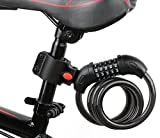 AKM Bike Lock, 4-Feet Bike Cable Lock Basic Self Coiling Resettable 5-Digit...