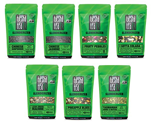Tiesta Tea Dry Flight Sampler, Slenderizer Tea, 7 Count 1 Ounce Pouches, Loose Leaf Green & Oolong Tea Blends, 8 to 12 Servings of Each Flavor, Gift Set