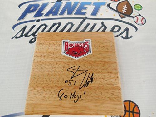Steven Hill Arkansas Razorbacks basketball signed wood floor w/ Go Hogs COA ()