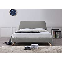 Omax Decor BU1012G Henry Upholstered Bed Platform, Queen, Gray