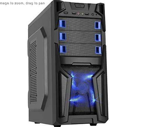 DIYPC Solo-T1-BK Black USB 3.0 ATX Mid Tower Gaming Computer Case with 2 x Blue Fans (1 x 120mm LED fan x front, 1x120mm fan x rear) Pre-installed