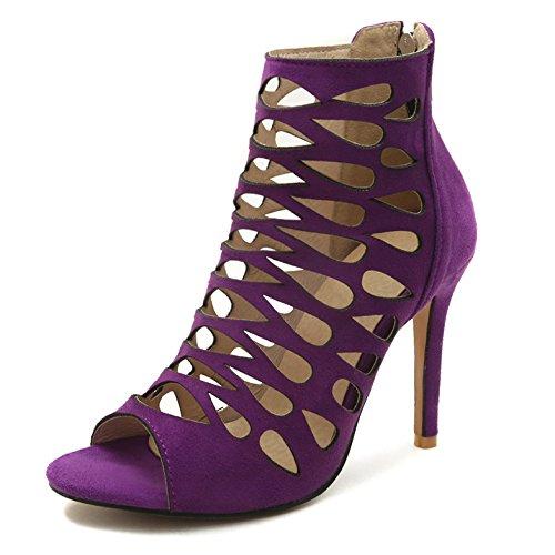 Femmes Vintage Open Toe Sandales Stiletto Talons Hauts Extreme Cut Out Gladiateur Wedding Party Chaussures Purple 7Jidm