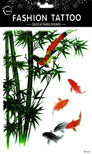 Spestyle fake tattoos that look real Large design colorful birds and bamboo and fishes fake temp tattoo stickers women for back,leg,chest,belly,etc.