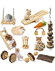 Sofier Hamster Chew Toys Set 12 Pack Natural Wooden Hamster Toys and Accessories for Cage Hamster Hideout Apple Wood Sticks Guinea Pig Chew Toys for Teeth Syrian Hamster Rats Chinchillas Gerbils