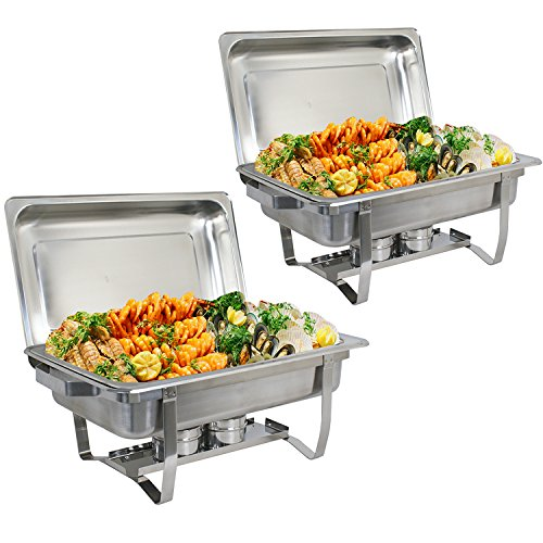 ZenChef Upgraded 8 Qt Stainless Steel Chafer, Full Size Chafer, Chafing Dish w/Water Pan, Food Pan, Alcohol Furnace and Lid (Pack of 2)