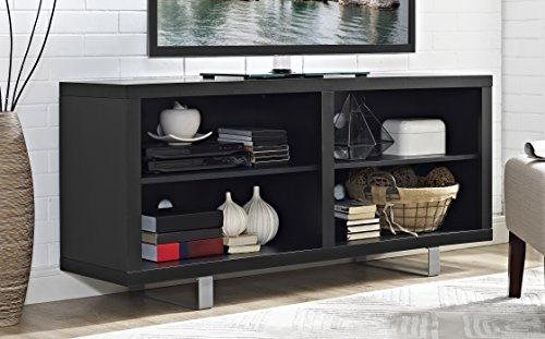 "WE Furniture 58"" Simple Modern TV Console with Metal Legs - Black"