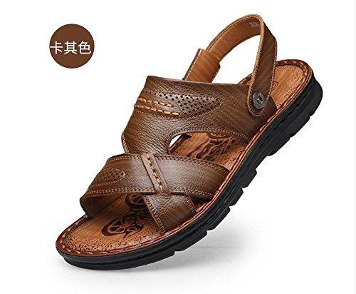 Xing Lin Sandalias De Hombre Sandalias De Cuero Verano Hombres MenS Casual Calzado De Playa Plataforma Antideslizante De Sandalias Y Zapatillas Khaki