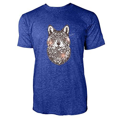 SINUS ART ® Wolfskopf im orientalischen Stil Herren T-Shirts in Vintage Blau Cooles Fun Shirt mit tollen Aufdruck
