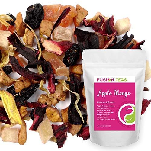 Apple Mango Hibiscus Herbal Fruit Tea - Caffeine Free Loose Leaf Bulk Herbs and Flowers - 5 Oz Pouch ()