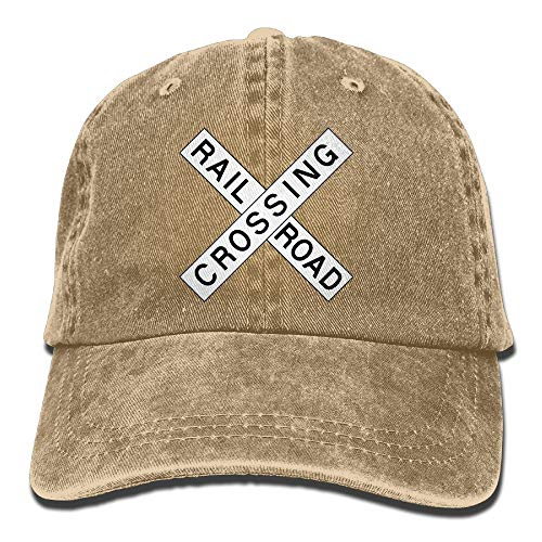 Endool Railroad Crossing Mens Cotton Adjustable Washed Twill Baseball Cap Hat -