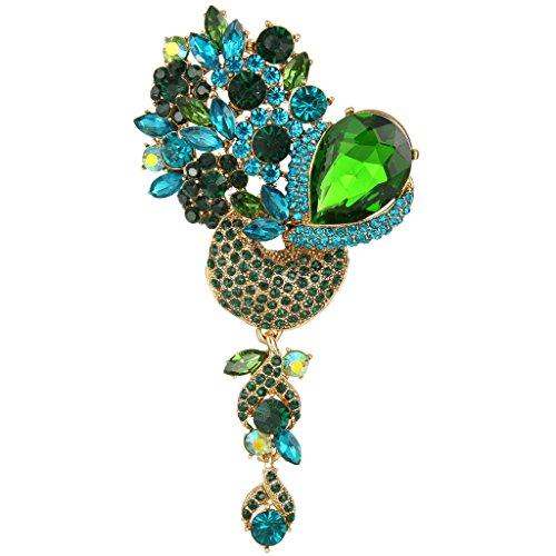 EVER FAITH Gold-Tone Crystal Rhinestone Teardrop Floral Dangle Brooch Pendant Green