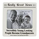 "Enesco Our Name is Mud ""Incredibly Young Grandparents"" Really Great News Ceramic Photo Frame, 4""x5"""