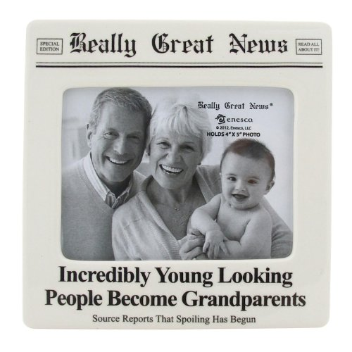 "New Great Gifts - Our Name is Mud ""Incredibly Young Grandparents"" Really Great News Ceramic Photo Frame, 4""x5"""