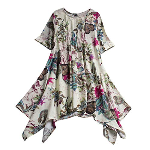 TUSANG Womens Tees Cotton and Linen O-Neck Short Sleeve Loose Printing Pleated Tops Blouse Casual Comfy ()