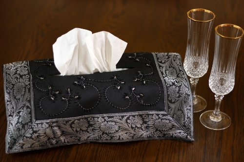 - Hand Embroidered Decorative Tissue Box Cover (Mystic Black)