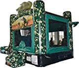 Green and Brown Camouflage 28-Foot Long by 15-Foot Wide by 15-Foot High Bounce House Heavy Duty Commercial Vinyl Inflatable, Wet or Dry Water Slide Combo Bundle