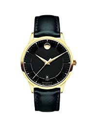 Movado Men's 1881 39.5mm Black Leather Band Gold Plated Case Automatic Analog Watch 606875