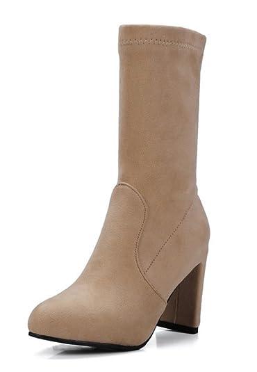SHOWHOW Damen Retro Stiefelette Blockabsatz Kurzschaft Stiefel Mit Reißverschluss Braun 41 EU 2Lx6ciIyn