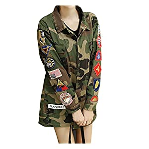 LAI MENG FIVE CATS Womens Mens Pockets Camo Military Green Jackets Coats US Badge Army Embroidery