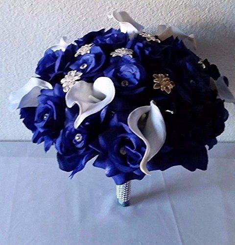 Royal Blue Rhinestone Rose Calla Lily Brooch Wedding Bouq...
