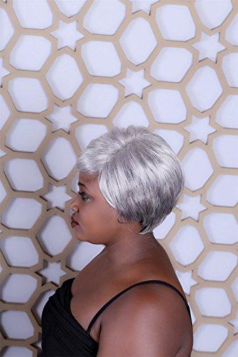 Perruque sexy femmes courtes naturelles droite cheveux ondulés blanc