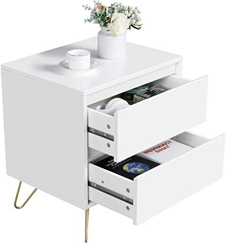 Yaheetech Sofa Chair Side End Tables with Storage Drawers, Sturdy Metal Legs- Small Coffee Table for Living Room, 19.7Lx15.7Wx22.4H Inch